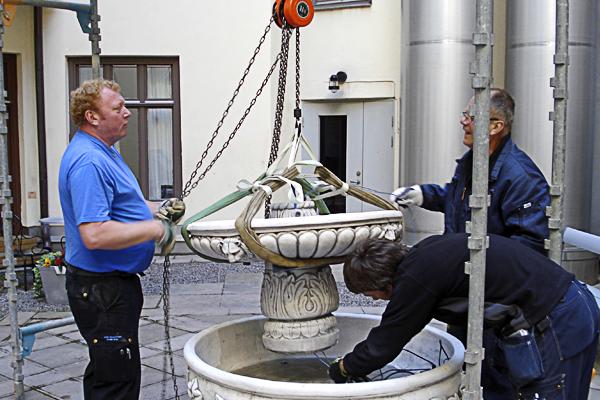 Montering av fontän med tot.vikt på 500kg